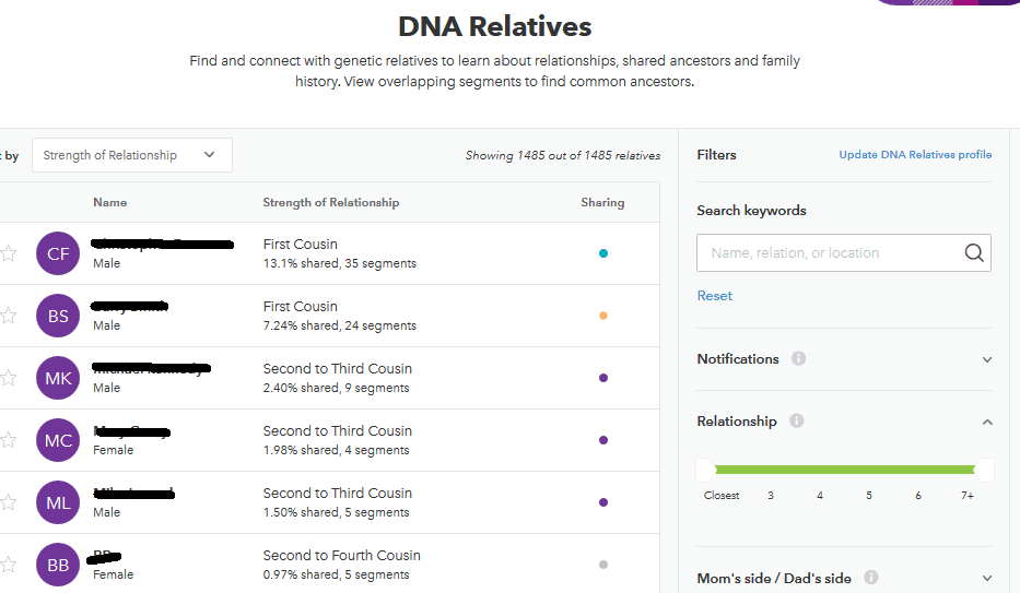 23andme DNA test match screen
